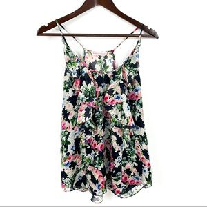 Rebecca Taylor Floral Silk Sleeveless Blouse